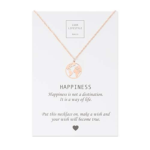 LUUK LIFESTYLE Edelstahl Halskette mit Weltkarte Anhänger und Happiness Spruchkarte, Glücksbringer, Damen Schmuck, rosé Business-hals
