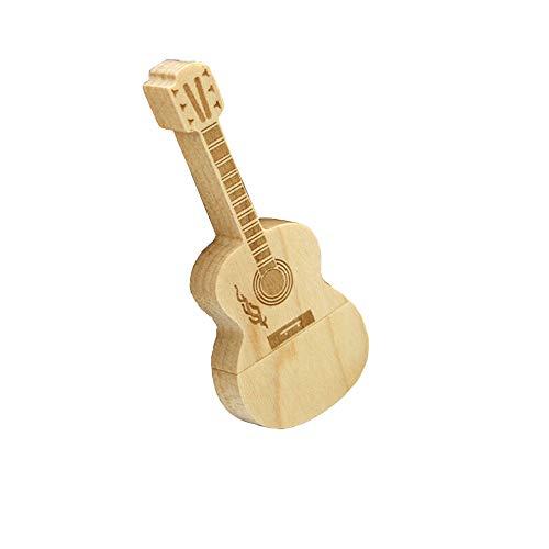TAOtTAO 8G /16G /32G /64G /128G /256G Neuartige U-Platte USB 2.0 Flash-Laufwerk Neuheit Mini Holz Gitarre Form Pen Drive Flash U Disk (Ahorn, 128G)