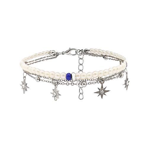 display08 Frauen Mehrschichtige Kette Knöchel Armband Perlen Sterne Sandale Strand Fußkettchen Schmuck Geschenk Weiß (Knöchel Armbänder String)