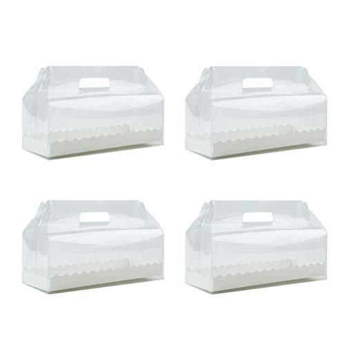 BESTONZON 4 stücke Kunststoff Einweg Box Klar Cupcake Aufbewahrungsbox Container für Zuhause Dessert Shop (Lange)
