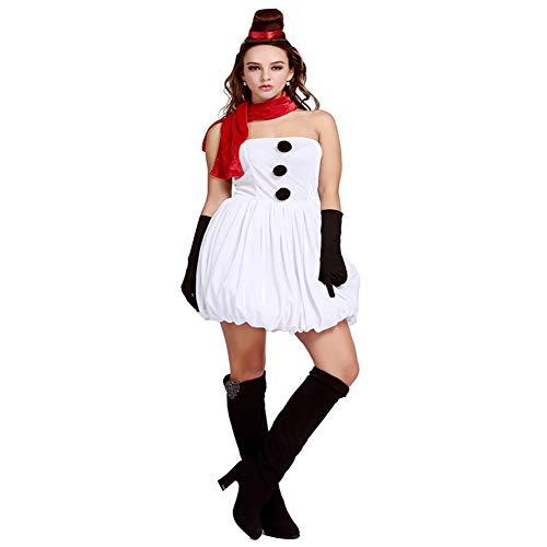 Elfen Weihnachten Für Kostüm Niedliche - CVCCV Weihnachten Cosplay Spiel Kostüm weiß niedlich Prinzessin Weihnachten Kostüm Schneemann Weihnachten Kostüm Prinzessin Rock Spandex Stoff
