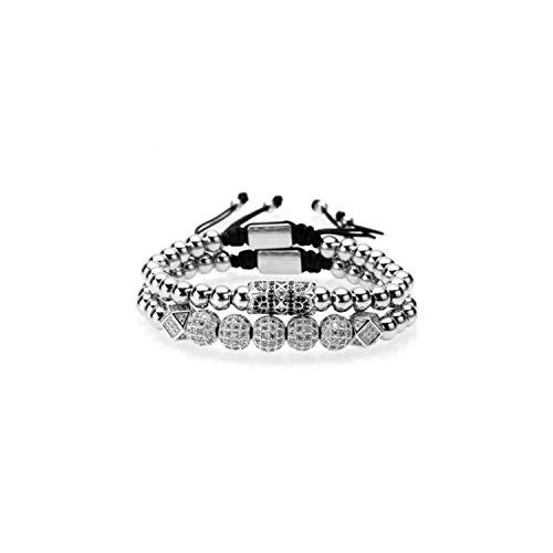 Awertaweyt Edelstein Perlen Armband Bracelet Men/Stainless Steel Beads/Gold/Luxury/Charms Bracelets for Women Cz Zircon Custom Bracelet New Jewelry Male Style G 165mm-250mm Adjusted Logo Custom Iphone
