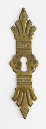 Lange Schlüsselloch (Beschlag Schlüsselloch Rosette Schrank Schublade Schranktür Messing senkrecht längs Jugendstil Schrankbeschlag Schubladenbeschlag brüniert)