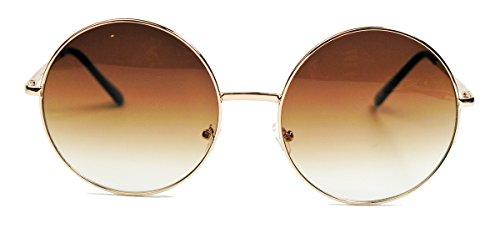 Oversized Lennon Style Damen Sonnenbrille im 60er 70er Jahre Hippie Style FARBWAHL LXL (Gold/Braun)