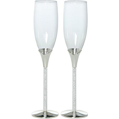 DonRegaloWeb - Set de 2 copas de cava de cristal con pie plateado y caja regalo para bodas o aniversarios