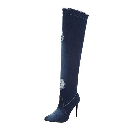 Ital-Design Overknees Damen-Schuhe Overknees Pfennig-/Stilettoabsatz High Heels Reißverschluss Stiefel Dunkelblau, Gr 38, Od-218-