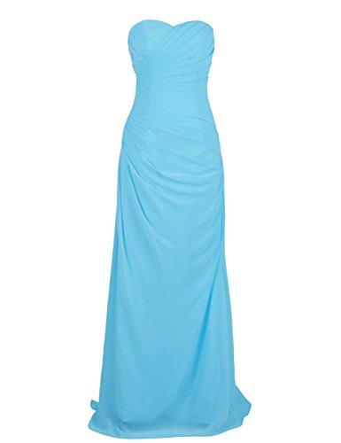 Dressystar Robe femme, Robe de soirée/ Cérémonie longue, bustier, en Mousseline Bleu