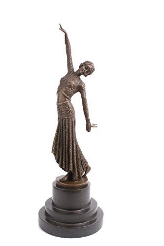 Statua scultura in bronzo massiccio figura di un ballerino 'passi' dopo D H Chiparus Hot cast Bronze