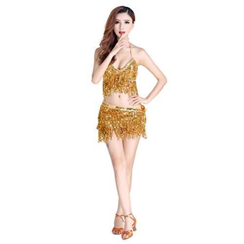 JEELINBORE 2pcs Tanzkostüm Bauchtanz Kostüm Neckholder Oberteile Quaste Pailletten Hüfttuch Gürtel Wickelrock - 2pcs Set #Gold, Freie (Orientalischer Tanz Kostüm)