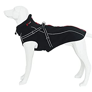 Dog Jacket with Harness, Windproof Dog Vest with Reflective Strips for Medium Large Dogs, Warm and Cozy Dog Sport Vest, Dog Winter Coat, Warm Dog Apparel with High Neckline Collar 58