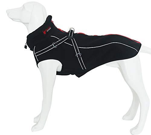 Morezi Hundejacke mit Geschirr Winddichte Hundeweste mit Reflektorstreifen für mittelgroße große Hunde warm und gemütlich Hund Sport Weste Hund Wintermantel Warme Hundebekleidung mit hohem Kragen
