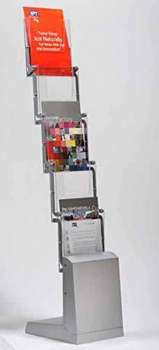 DISPLAY SALES - Espositore pieghevole per brochure, 5 x DIN A4, con borsa per il trasporto, in alluminio e plastica trasparente