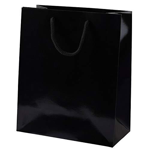 Thepaperbagstore 5 Schwarz Medium Luxus Gloss Seilgriff Papiertüten 200x100x240mm - Wählen Sie Ihre Größe und Menge -