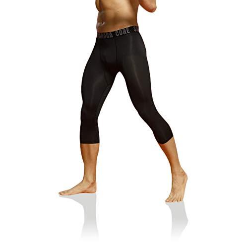 saracacore Männer Jungen Herren Lange 3/4 Unterhose Strumpfhose Unterwäsche Fussball Fahrrad Kompressions Fitness Sports Leggings (Schwarz 3/4, XXL)