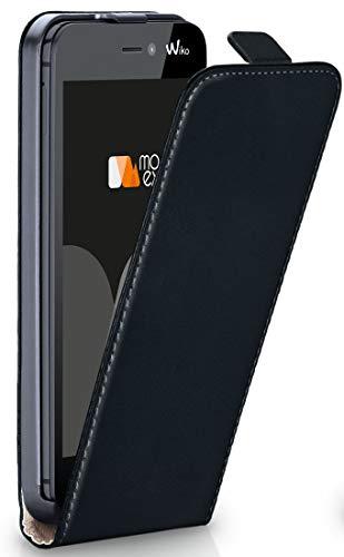 moex® Flip Case mit Magnetverschluss [R&um-Schutz] passend für Wiko Jimmy | 360° Handycover aus feinem Premium Kunst-Leder, Schwarz