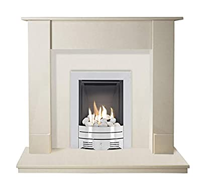 The Maine in Beige Stone with Crystal Diamond Contemporary Gas Fire in Brushed Steel, 48 Inch