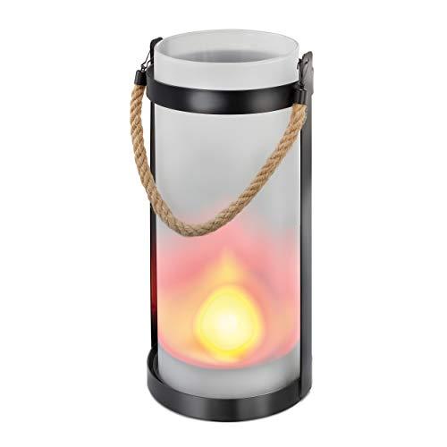 Dekorative Solar Laterne'Jasmin' - lebendiger LED Flammeneffekt - Höhe: 31,0 cm - gestellt oder am...