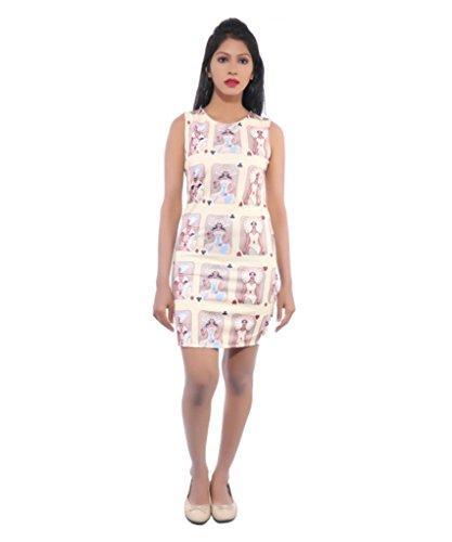 Avakasa Cotton Lycra White Printed Partywear Dress (dress-04-cream)