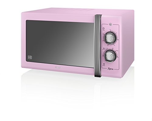 Swan Retro SM22070PN Manual Microwave with 6 power levels, 900W, 25 Litre, Pink