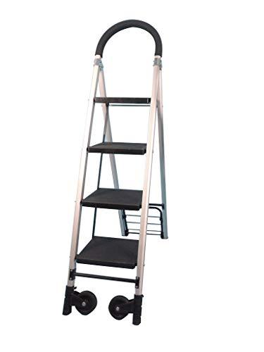 Multifunktions Rollleiter, Familie 3 bis 4 Treppenstufen Multifunktions-Handlauf Stufenleitern Aluminium-Legierung Leicht Leiter Roller Ladder stabil (Size : 37 * 92 * 144cm)