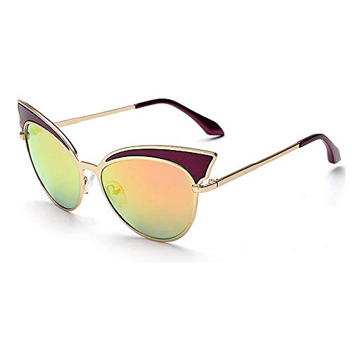 XHCP Frauen Klassische Sonnenbrille Lady 's Cat Eyes UV-Schutz Sonnenbrille Metallrahmen Outdoor Für Fahren Reisen Strand (Farbe: C5)