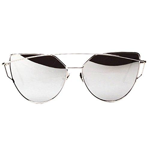 Preisvergleich Produktbild Gazechimp Damen Twin-Träger Vintage Classic Metallrahmen Sonnenbrille Katzenaugen Brille Reflektierenden Spiegel - Silber
