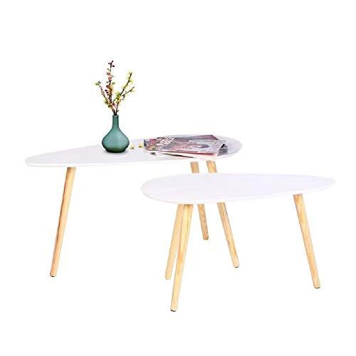 Happy Home Moderner Couchtisch Sef von 2 Nesting End Beistelltisch für Wohnzimmer Zuhause Büro (Großer Tisch-85x50x45cm / Kleiner Tisch-70x35x40cm) (Kleiner Beistelltisch Groß)