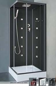 Cabine de douche complete Noire, Rouge ou Blanche, carree, hydrotherapie 80 x 80 x 209 cm