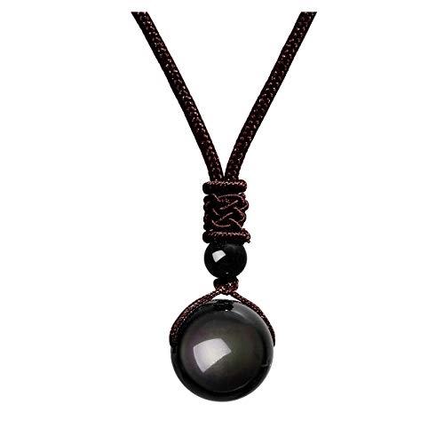 JOVIVI Geschenkideen Glückskette aus Obsidian mit Verstellbarer Nylonschnur Halskette Stein Perle Anhänger für Damen und Herren (Dunkelbraun)