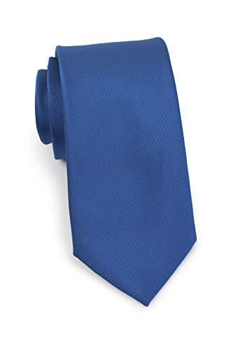Puccini Schmale Krawatte, fein strukturiert, einfarbig matt, verschiedene Farben, Mikrofaser, Handarbeit, 7 cm Slim Tie (Blau) -