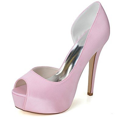 Wuyulunbi@ Scarpe donna raso Primavera Estate della pompa base scarpe matrimonio Stiletto Heel Peep toe per la festa di nozze & sera Rosa Bianco Rosa