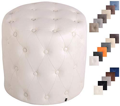 Clp pouf sgabello lille imbottito rotondo in similpelle, velluto o stoffa i puff poggiapiedi divano design chesterfield bianco similpelle