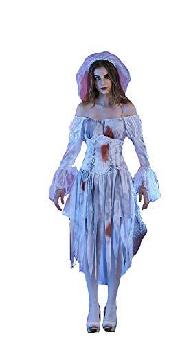 XSQR Halloween Cosplay Sexy Frau Zombie Performance-Kostüm Weiß Kleid,White,L (Zombie Frau Kostüm)
