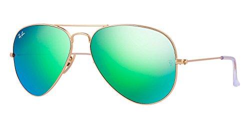 Ray Ban Sonnenbrille Aviator Chrome Gold/Grün