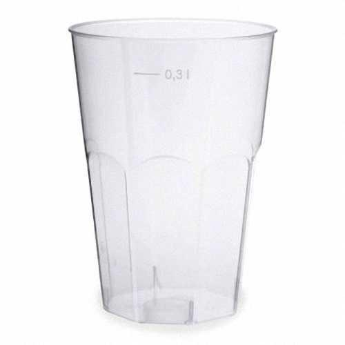 60 Stk. Einweg-Cocktailglas 300ml mit Eichstrichen, PS, transparent glasklar / Hochwertige glasklar transparente Longdrink-Gläser aus Polystrol im Hygienepack. Mit Eichstrichen bei 300ml!