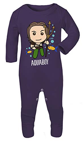 Kostüm Superhelden Aquaman - Colour Fashion Superhelden-Kostüm mit Aquaman-Aufdruck, 100% Baumwolle, hypoallergen Gr. 6-12 Monate, violett