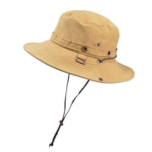 HHyyq Herren Sommer Outdoor, Sonnenhut Männer Fischerhut Unisex Faltbar Atmungsaktiv Wanderhut Erwachsene Damen UPF 50+ Outdoor Uv Schutz Mesh Summer Hut Hiking Strand Cap(Gelb) Outback-mesh-hut