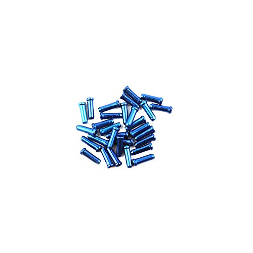 Aluminum Alloy Cycling Bike Brake Cable Tips Crimps Bicycle Derailleur Shift Cable End Caps Core Inner Wire Ferrules Cable Wire Tips End Caps Crimp Blue 30pcs