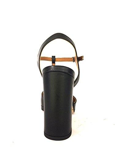 Sandali tacco alto DK-53 in pelle con plateau nero argento MainApps Nero