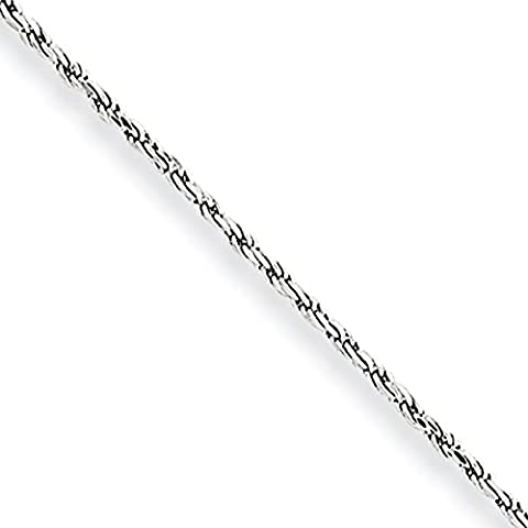 10k White Gold 1.2mm Diamond-Cut Rope Chain Anklet - Lobster Claw - 23 Centimeters