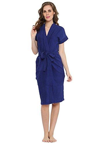 Superior Cotton Royal Blue Bathrobe (Free Size)