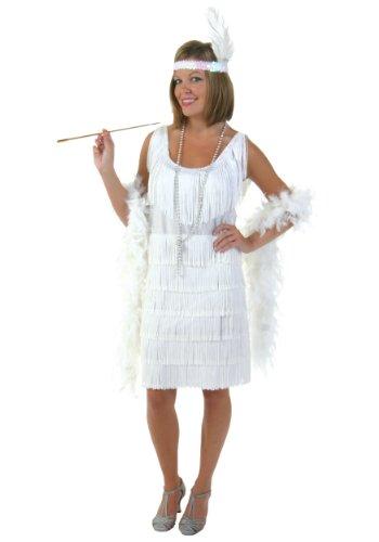 Plus Size White Flapper Girl Fancy dress costume (Plus Girl Flapper Size Kostüm)