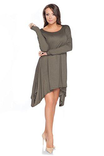 FUTURO FASHION - Robe - Trapèze - Manches Longues - Femme Vert Kaki Vert - Kaki