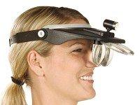 PROFI Kopfbandlupe mit Stirnband 4 Linsen + Licht