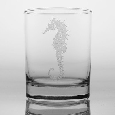 Seahorse 14 Oz Double Old Fashioned Glass (Set of 4) by Rolf Glass 14 Oz Double Old Fashioned