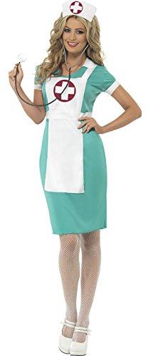 enschwester Kostüm mit Schürze für Frauen, S, Mehrfarbig (Arzt Halloween Kostüm Für Frauen)