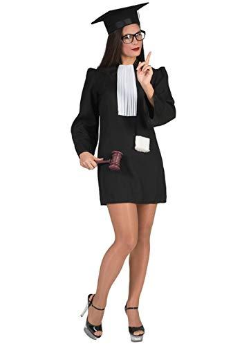 Kostüm Funny Paar - Funny Fashion Kostüm Richterin Justitia Tunika schwarz Jabot Richterkostüm Fasching (36/38)