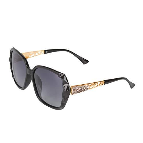 Lazzboy High-end Damen Sonnenbrille Damenmode Polarisierter Retro Sonnenbrillen Marken Metall Rahmen Pilot Platz Spiegel Brillen(Schwarz)
