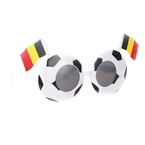 P Prettyia Fanartikel Sonnenbrille Fan Brille zur Fußball Weltmeisterschaft Spaßbrille Partybille Halloween Karneval Farsching - Belgien