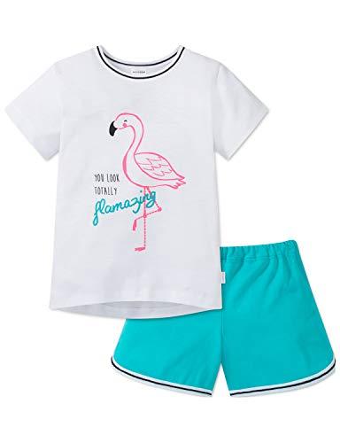 Schiesser Mädchen Md Anzug kurz Zweiteiliger Schlafanzug, Weiß (Weiß 100), (Herstellergröße: 116)
